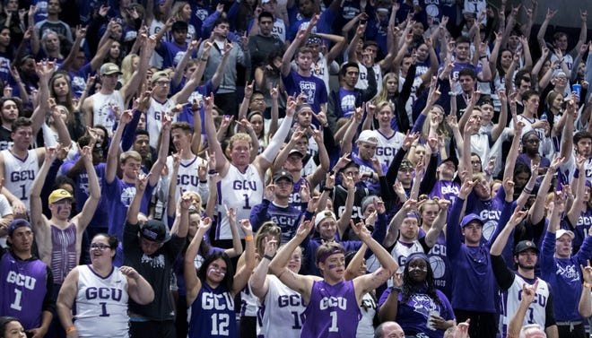 """Grand Canyon University's student section does """"Lopes Up"""" as they take a free throw during second half of their game in Phoenix, Monday, Nov. 11, 2018."""
