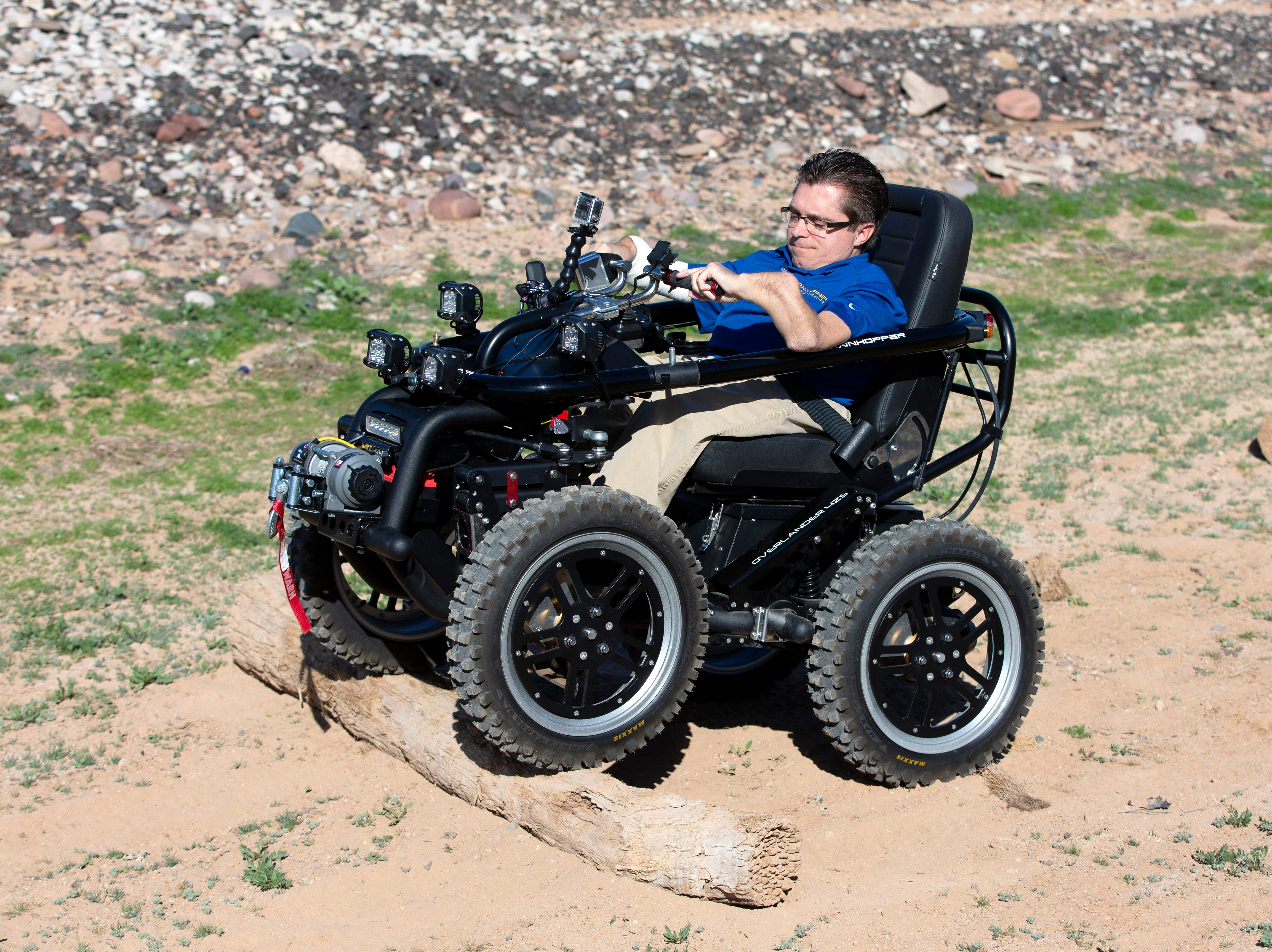 Todd Lemay, owner of TerrainHopper USA in Tempe, demonstrates how the all-terrain vehicle works for people with disabilities or everyday mobility issues.