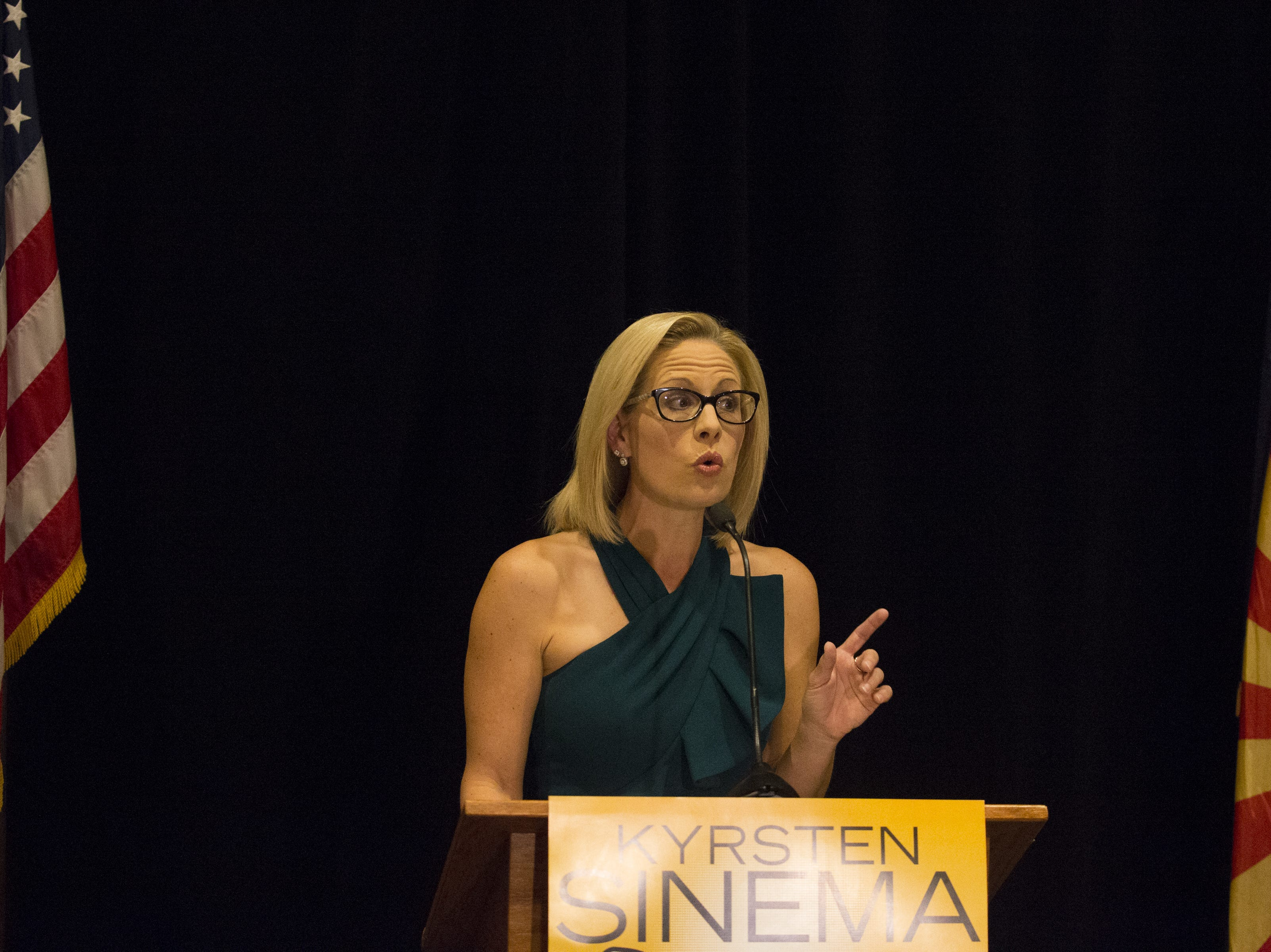 Kyrsten Sinema talks to supporters during a press conference, November 12, 2018, at the Omni Scottsdale Resort & Spa at Montelucia, 4949 E Lincoln Drive, Scottsdale.