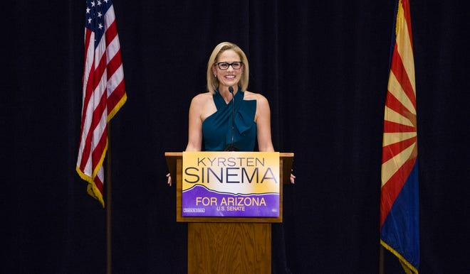 Kyrsten Sinema speaks to the press after the Associated Press declared her the winner of the U.S. Senate race against Martha McSally. The press conference was held at the Omni Scottsdale Resort & Spa at Montelucia in Scottsdale on Nov. 12, 2018.