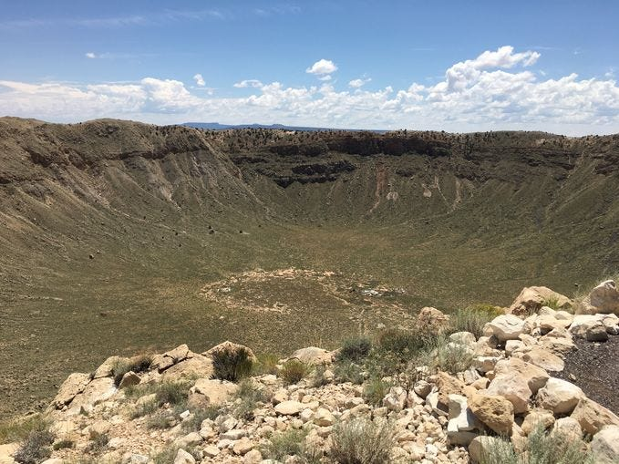 Meteor Crater | This site east of Flagstaff is the first proven and best-preserved impact meteor crater on the planet. Visitors can enjoy comfortable facilities, including an interactive museum and a movie with lots of explosive graphics. | Details: 928-289-5898, www.meteorcrater.com.