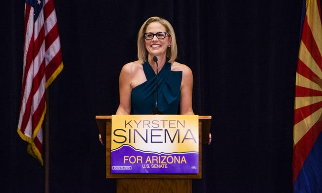 Kyrsten Sinema speaks to supporters after the Associated Press declared her the winner of the U.S. Senate race against Martha McSally.