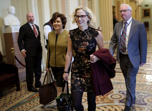 Democratic Senate Leader Chuck Schumer Meets With Newly Elected Senators Jacky Rosen D Nv And Kyrsten Sinema D Az