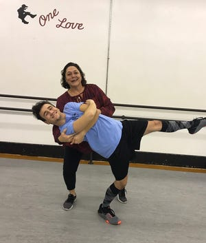 "Jill Johnson, of Oak Harbor Middle School, and her dance partner, Evan McBride, rehearse for their upcoming performance at the ""Dancing with the Stars"" fundraiser."