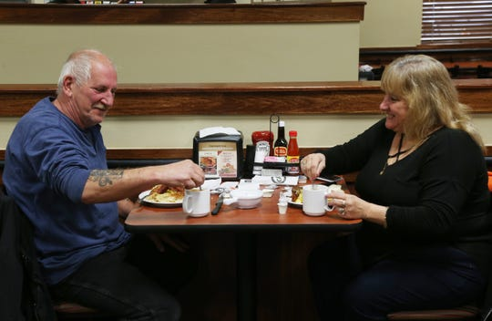 Larry Curry and Dolly Matula of Poughkeepsie enjoy a breakfast at Golden Corral in the Town of Poughkeepsie on November 13, 2018.