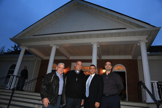 Beacon Mayor Randy Casale, left to right, Pastor Bill Dandreano of Salem Tabernacle, Rabbi Brent Spodek of Beacon Hebrew Alliance and Pastor Ben Larson-Wolborik are shown during the Nov. 1 One Beacon - Light in the Darkness of Racism & Anti-Semitism event.