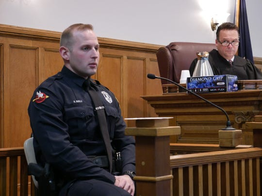 Town of Poughkeepsie police officer Richard Sisilli's testifies in Dutchess County Court during Nicole Addimando's pretrial hearing on Nov. 13, 2018, before Judge Edward McLoughlin.