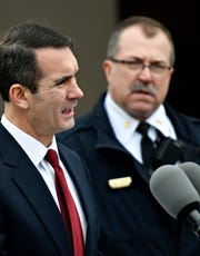 York City Fire Chief David Michaels, right, looks on as Auditor General Eugene DePasquale announces $55.1 Million funding for Pennsylvania volunteer firefighters' relief associations prior to a tour of York County Fire School in Manchester Township, Tuesday, Nov. 13, 2018. Dawn J. Sagert photo