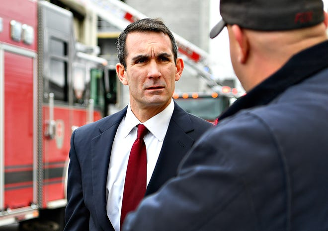 Auditor General Eugene DePasquale, left, talks to York County Fire School Administrator John Livingston at the school in Manchester Township, Tuesday, Nov. 13, 2018. DePasquale announced funding of $55.1 Million that will be released to volunteer firefighters' relief associations in 2,518 municipalities across the state. Dawn J. Sagert photo