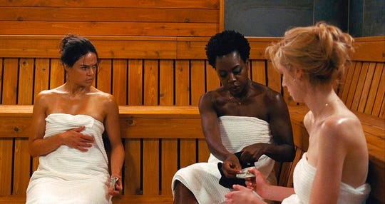 "From left, Michelle Rodriguez, Viola Davis and Elizabeth Debicki star in ""Widows."" The movie opens Nov. 16 at Regal West Manchester Stadium 13 and Frank Theatres Queensgate Stadium 13."