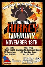 The Community Turkey Giveaway is taking place at two separate locations on Nov. 13.