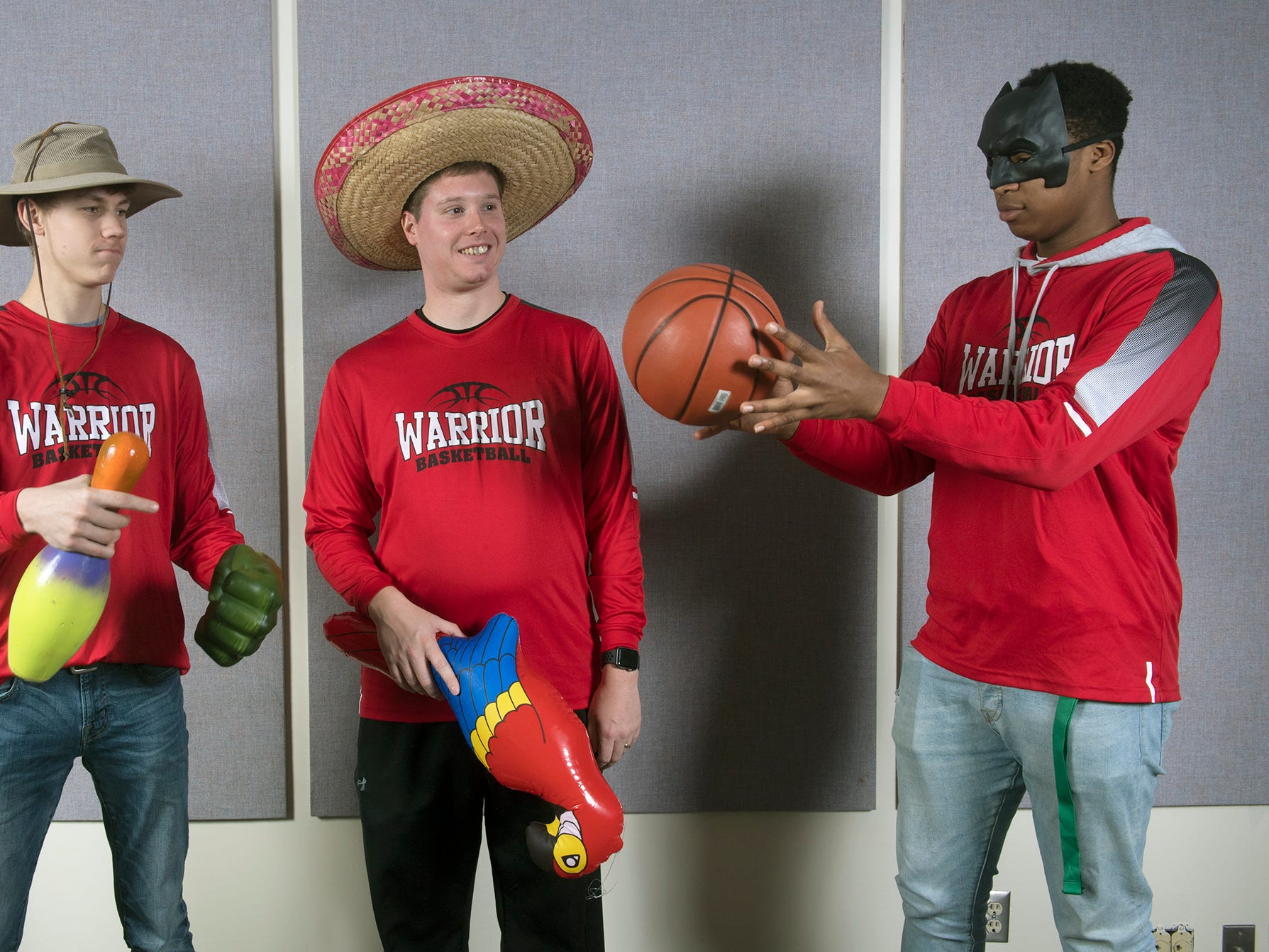 From the left, Noah Miller, Andy Shelow and Will Ogude, of the Susquehannock boys basketball team, pose during the 2018-19 GameTimePa YAIAA Winter Media Day Sunday November 11, 2018.