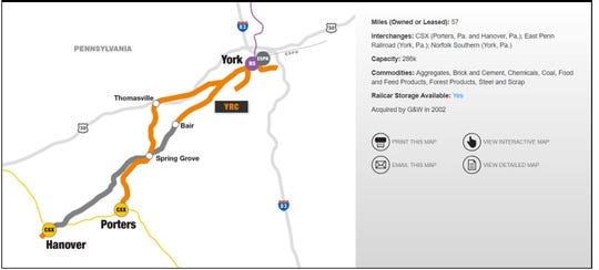 The York Railway website shows a map of operations in York County.