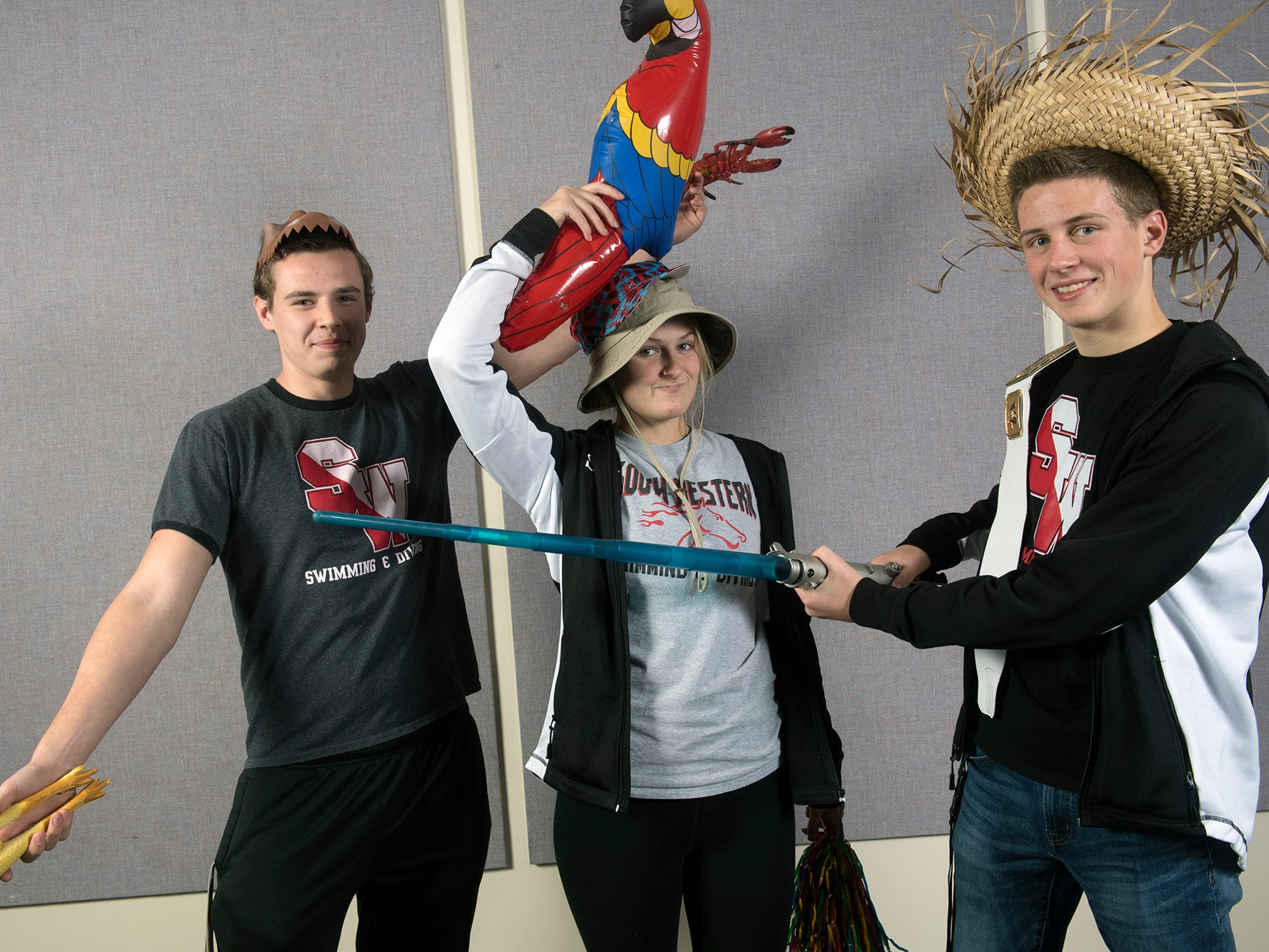 From the left, Todd Jones, Cara Green, and Ben Tilmes, of the South Western High School swim team, during the 2018-19 GameTimePa YAIAA Winter Media Day Sunday November 11, 2018.