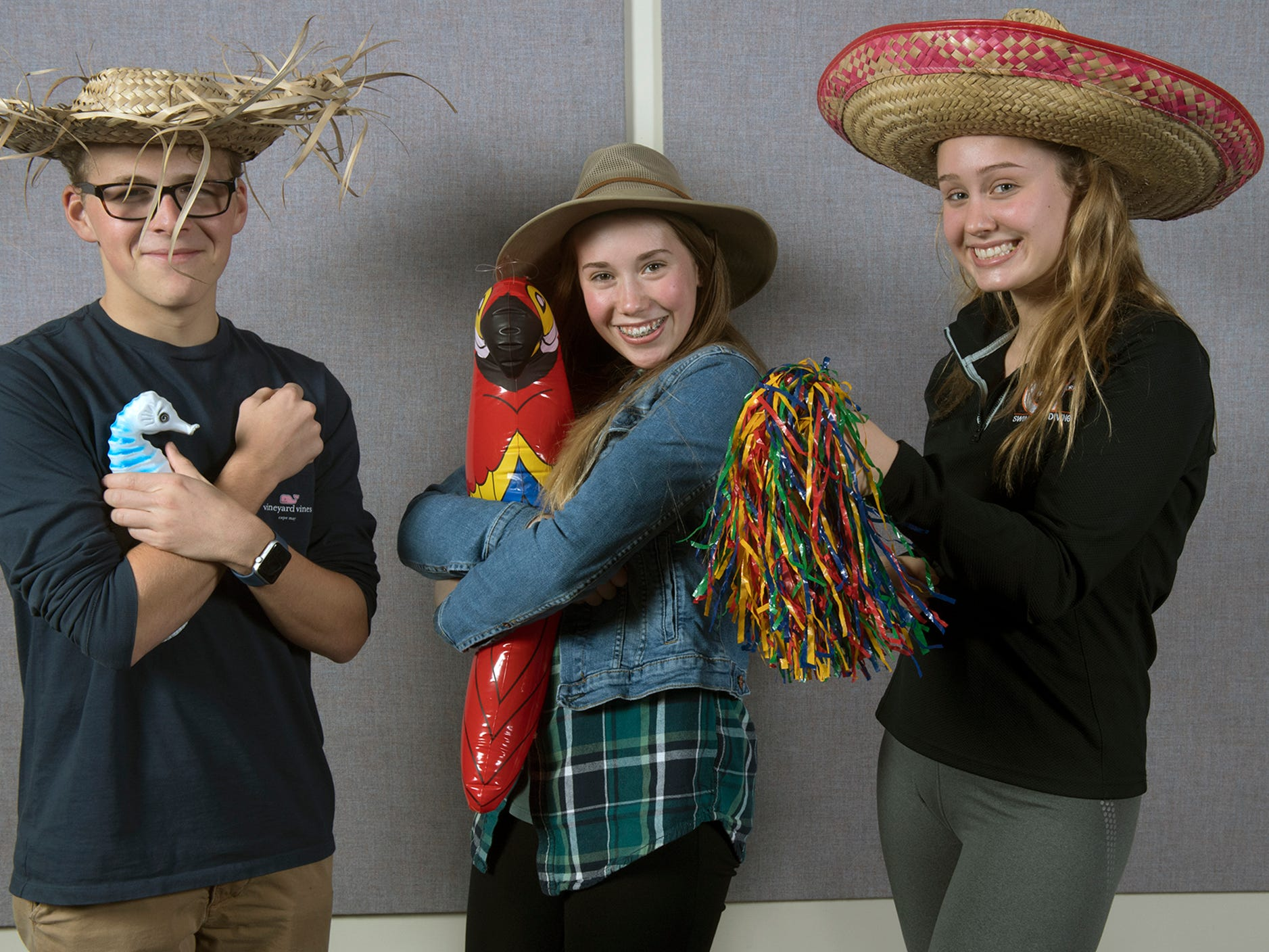 From the left, Clayton Brosend, Brynn DuRand and Sarah Minich, of the Central York swimming team, pose during the 2018-19 GameTimePa YAIAA Winter Media Day Sunday November 11, 2018.