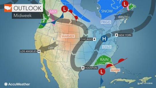 Accuweather says winter-like storms will hit the eastern states by Thursday.