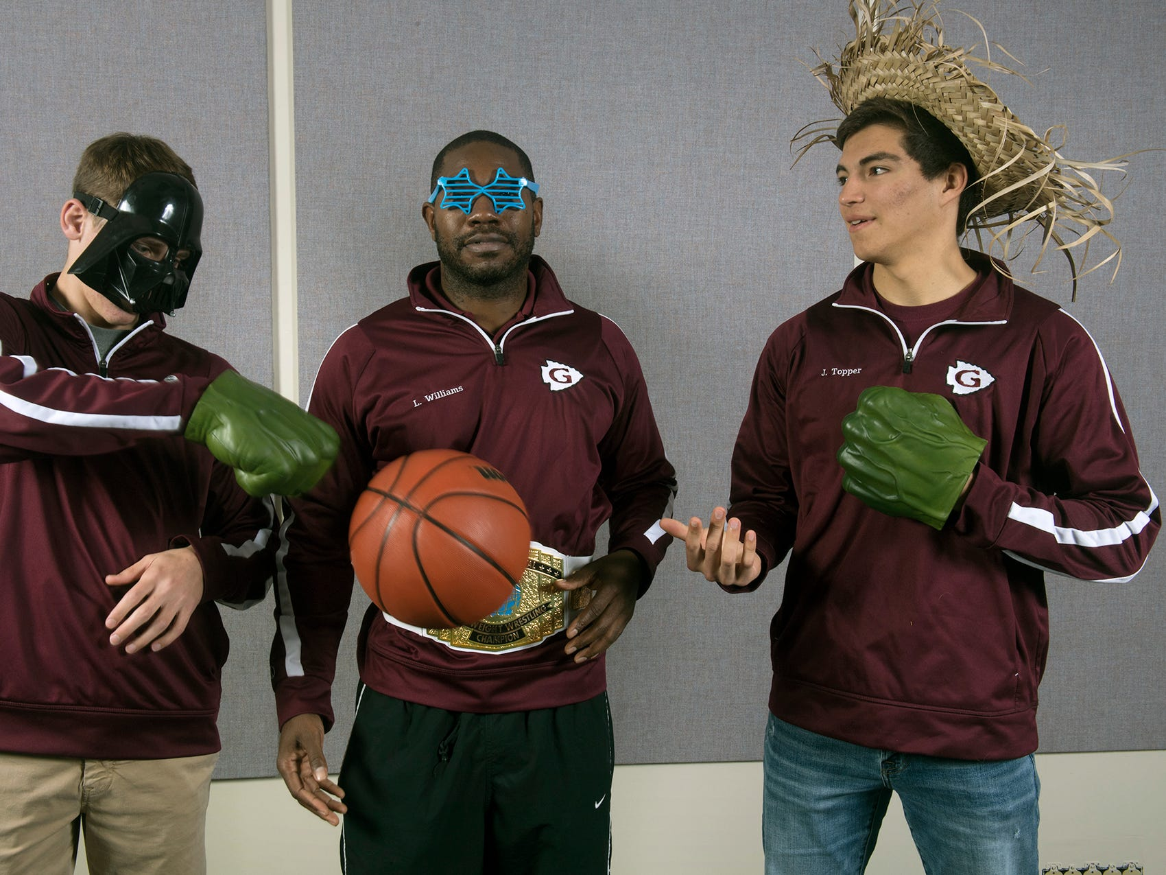 From the left, David James, Coach Lawrence Williams and Josh Topper, of the Gettysburg boys basketball, pose during the 2018-19 GameTimePa YAIAA Winter Media Day Sunday November 11, 2018.