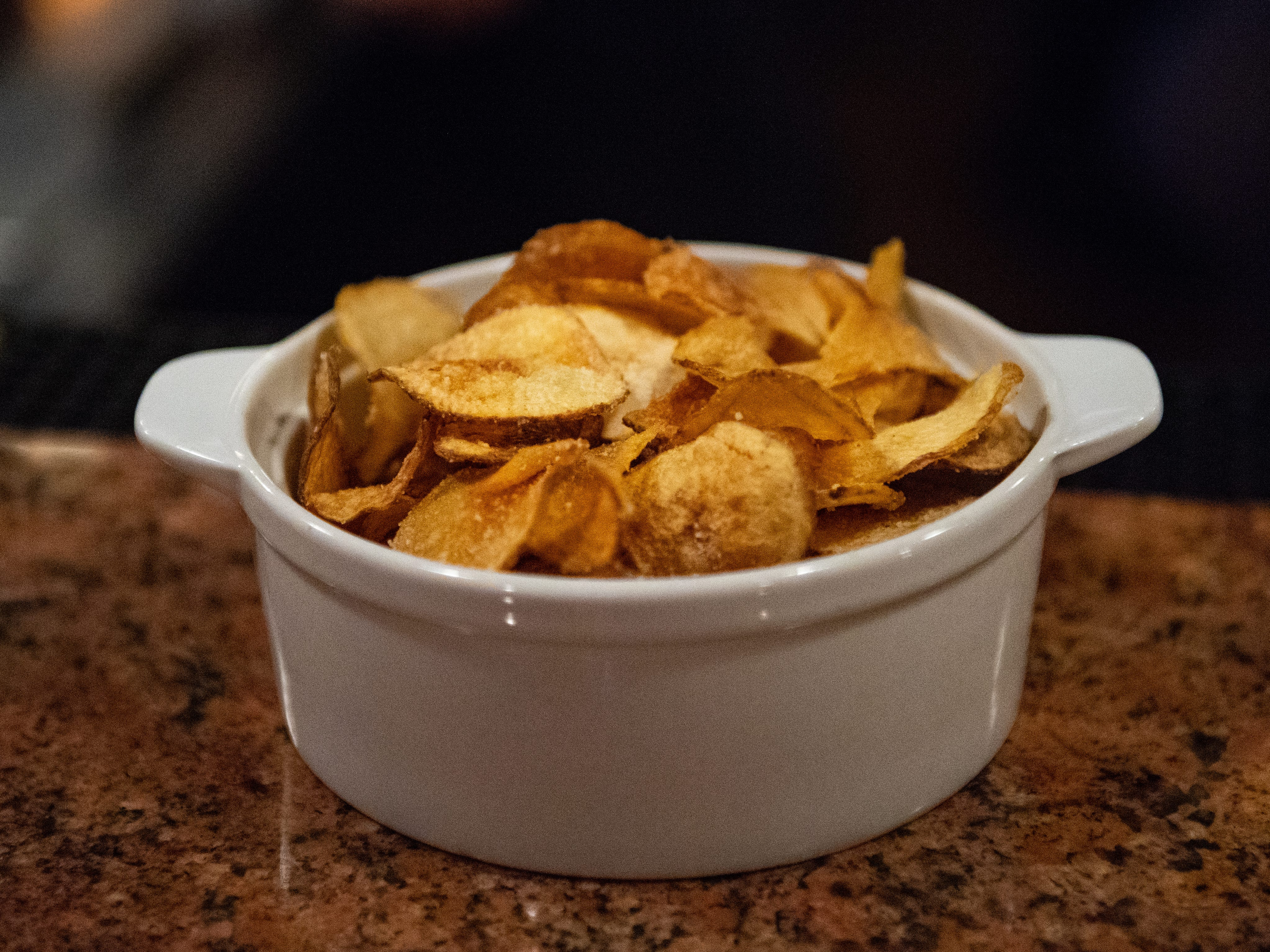 During happy hour, complimentary chips are set out for guests to enjoy at Roosevelt Tavern in downtown York, November 9, 2018.