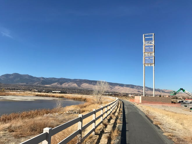 A new cell tower sits near a fire station at Veterans and Steamboat parkways in far South Reno on Monday, Nov. 12, 2018.