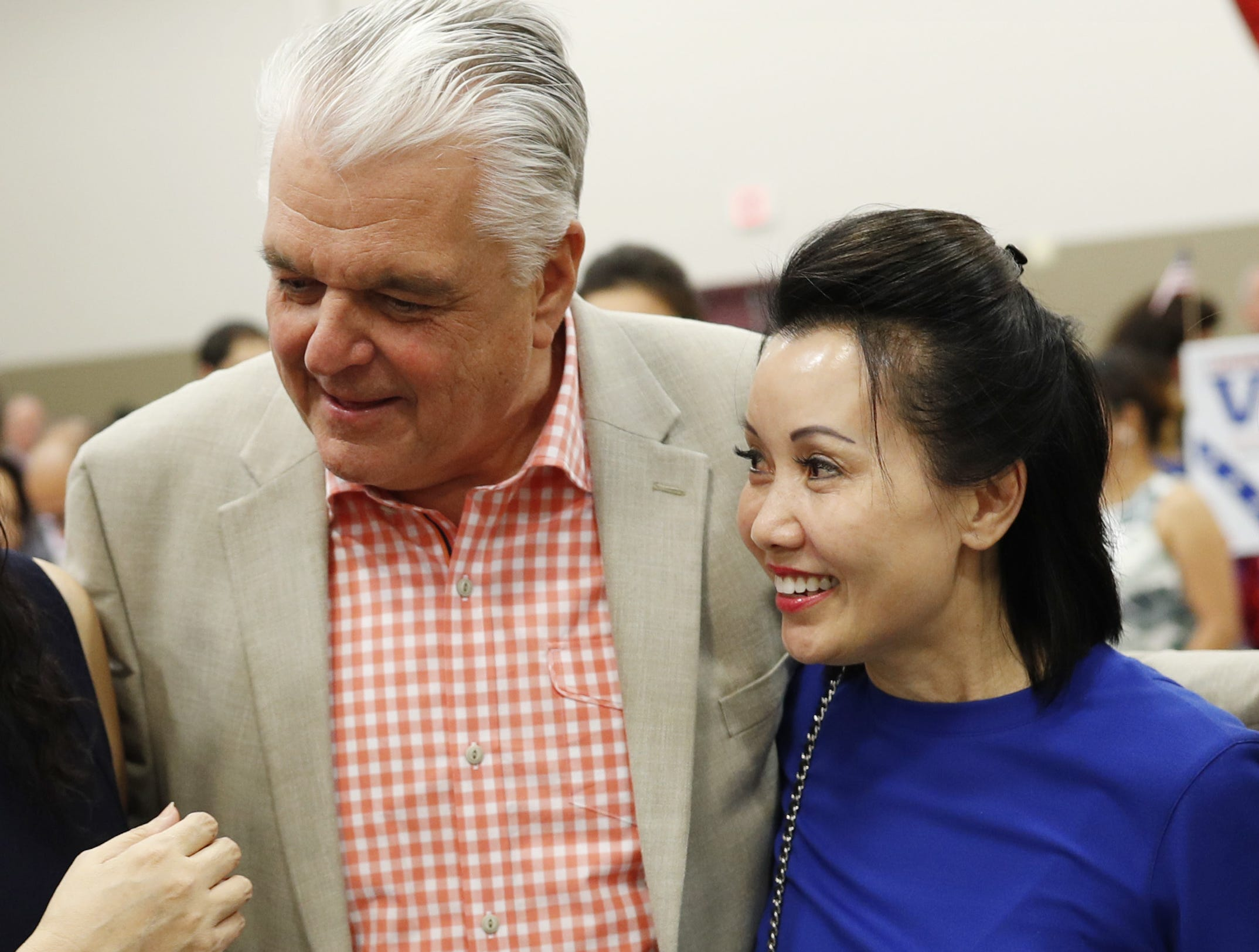 Governor-elect Steve Sisolak and his fianceè, Kathy Ong, at a campaign event in August.