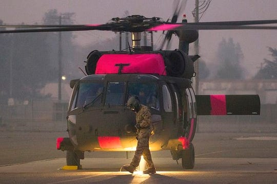 The California Army National Guard sent two of its new M-model UH-60 Black Hawk helicopters to Northern California on Saturday to help with the Camp Fire. This is the first wildfire for the Cal Guard's M-model UH-60s.