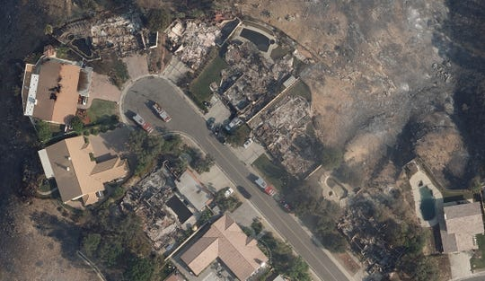 Aerial image of damage from Woolsey Fire in Thousand Oaks, California.