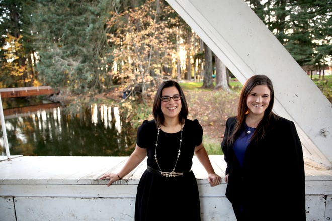 City Council-elects Jordan Ohrt (left) and Paige Hook (right) are pictured on Monday, Nov. 12, 2018 in Stayton.