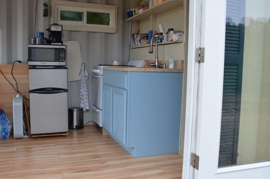 An example of a kitchen in one of the converted shipping containers.