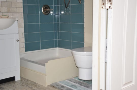 An example of the bathroom in one of the converted shipping containers.