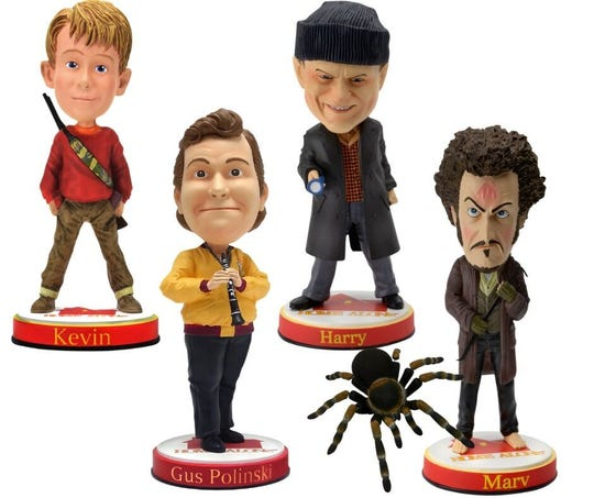Kevin, Gus, Harry, Marv and the tarantula from the beloved holiday movie Home Alone are now all bobbleheads at the National Bobblehead Hall of Fame and Museum.