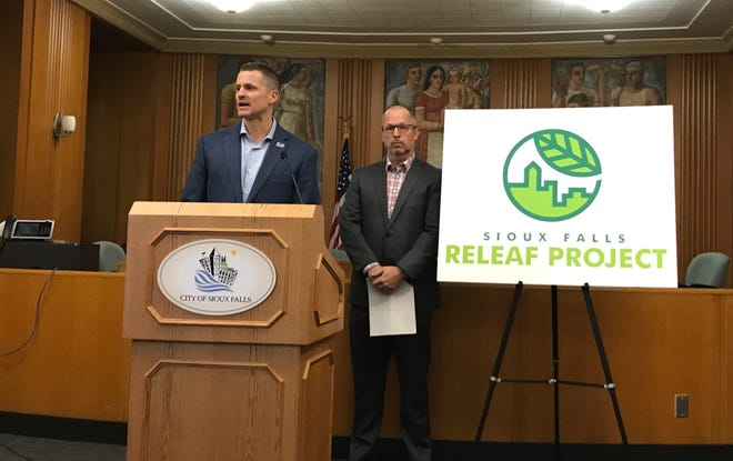"Mayor Paul TenHaken was joined by Parks and Recreation Director Don Kearney during a news conference at City Hall Tuesday afternoon to announce a fundraising campaign called ""ReLeaf Sioux Falls."""