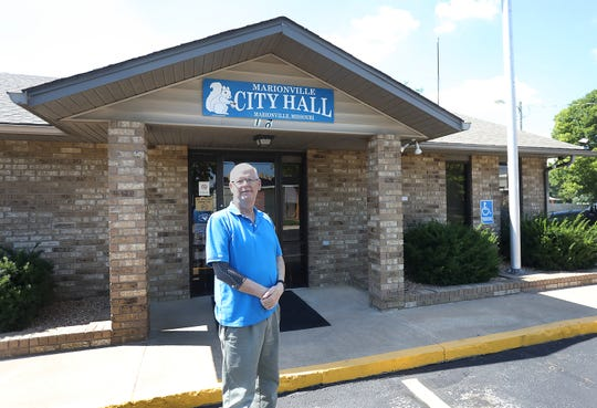 Mayor Chris Murphy stands outside the Marionville city hall.
