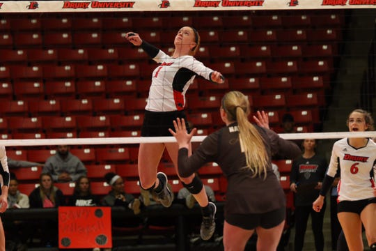 Emmalee Chrest goes for a kill.