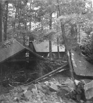 The Flood of 1949 devastated a small area in northwestern Augusta and southern Rockingham. Among the places that were damaged was part of the Girl Scout camp called Camp May Flather. Here the heavily damaged Boone Unit of that camp can be seen.