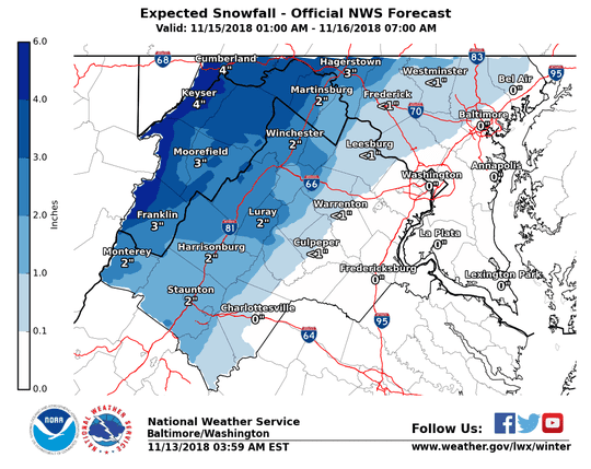 Expected snowfall for Nov. 15-16, 2018.