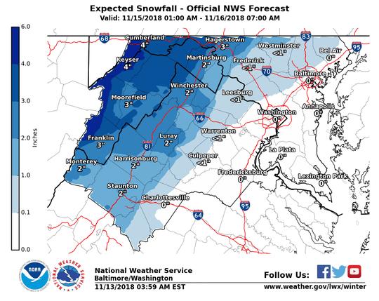 Expected snowfall for Nov. 15-16, 2018.