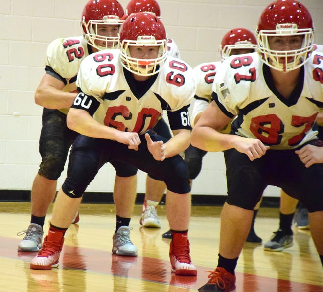 Riverheads' football team moved its practice indoors to the school's gymnasium on Monday, Nov. 12, 2018, in Greenville, Va. The top-seeded Gladiators host No. 4 Altavista in the VHSL Class 1, Region B semifinals Friday.