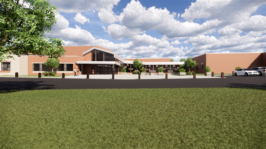 Artist rendering of what the the front entrance of the high school will look like when the renovation is complete.