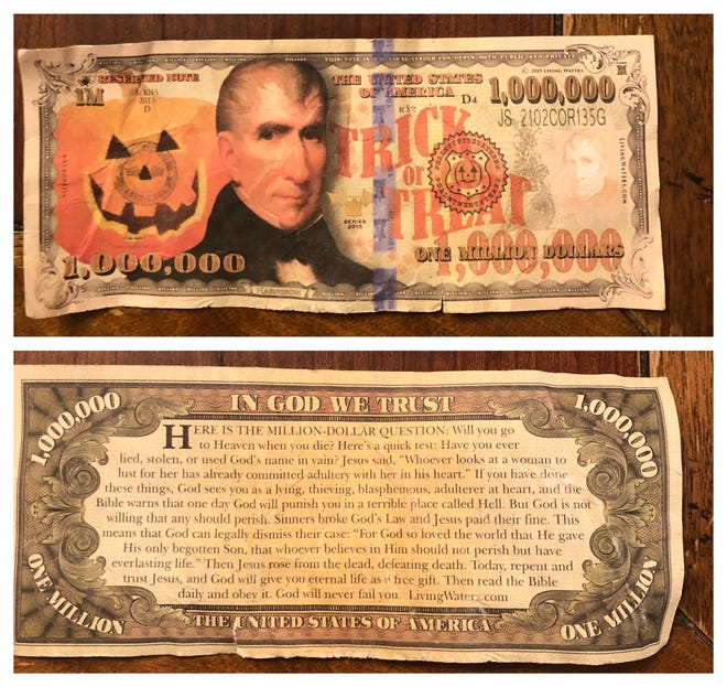 A fake $1-million bill that was handed to a child by a woman in a car as he was walking home from school.