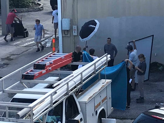 """Crews in downtown Vero Beach Nov. 13, 2018 film """"In Pursuit With John Walsh,"""" a new show that will be on Investigation Discovery."""