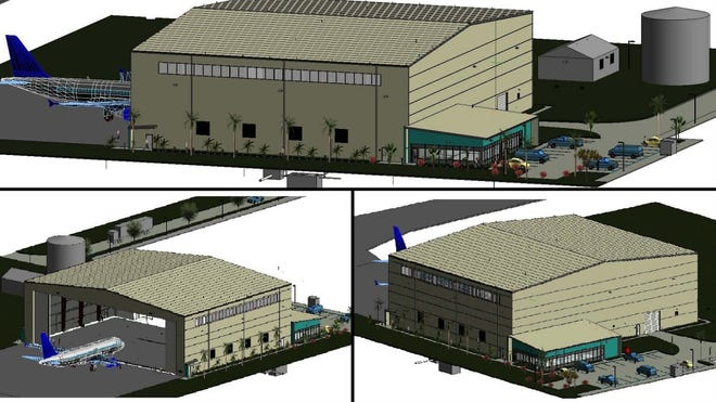 Rendering of 45,000-square foot- hangar proposed for Treasure Coast International Airport in St. Lucie County. St. Lucie officials plan to lease the hangar to an aviation company  doing maintenance, repair and overhaul of aircrafts.