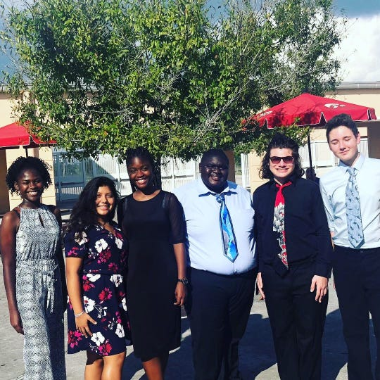 The first tournament competitors and observers for LPA's new Speech & Debate Team, excluding the photographer.