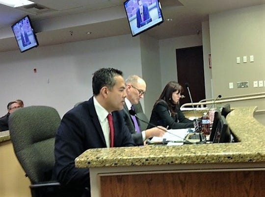 El Paso City Manager Tommy Gonzalez, front, Deputy City Manager Cary Westin and City Attorney Karla Nieman attend the Nov. 13 City Council meeting.