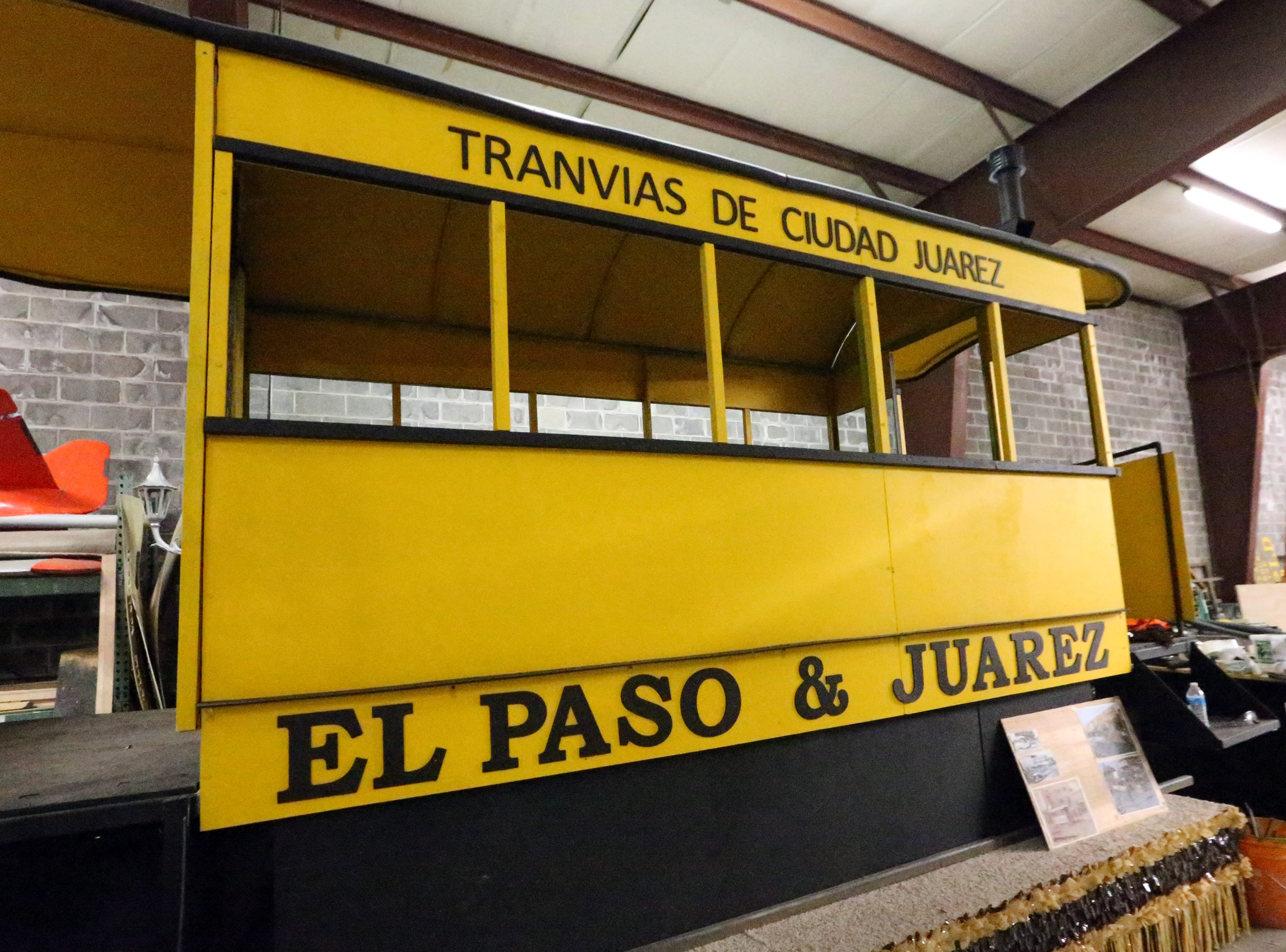 A faithful replica of a mule-drawn trolly car that traveled between El Paso and Juarez is being finished. The float is sponsored by the El Paso Electric Company.