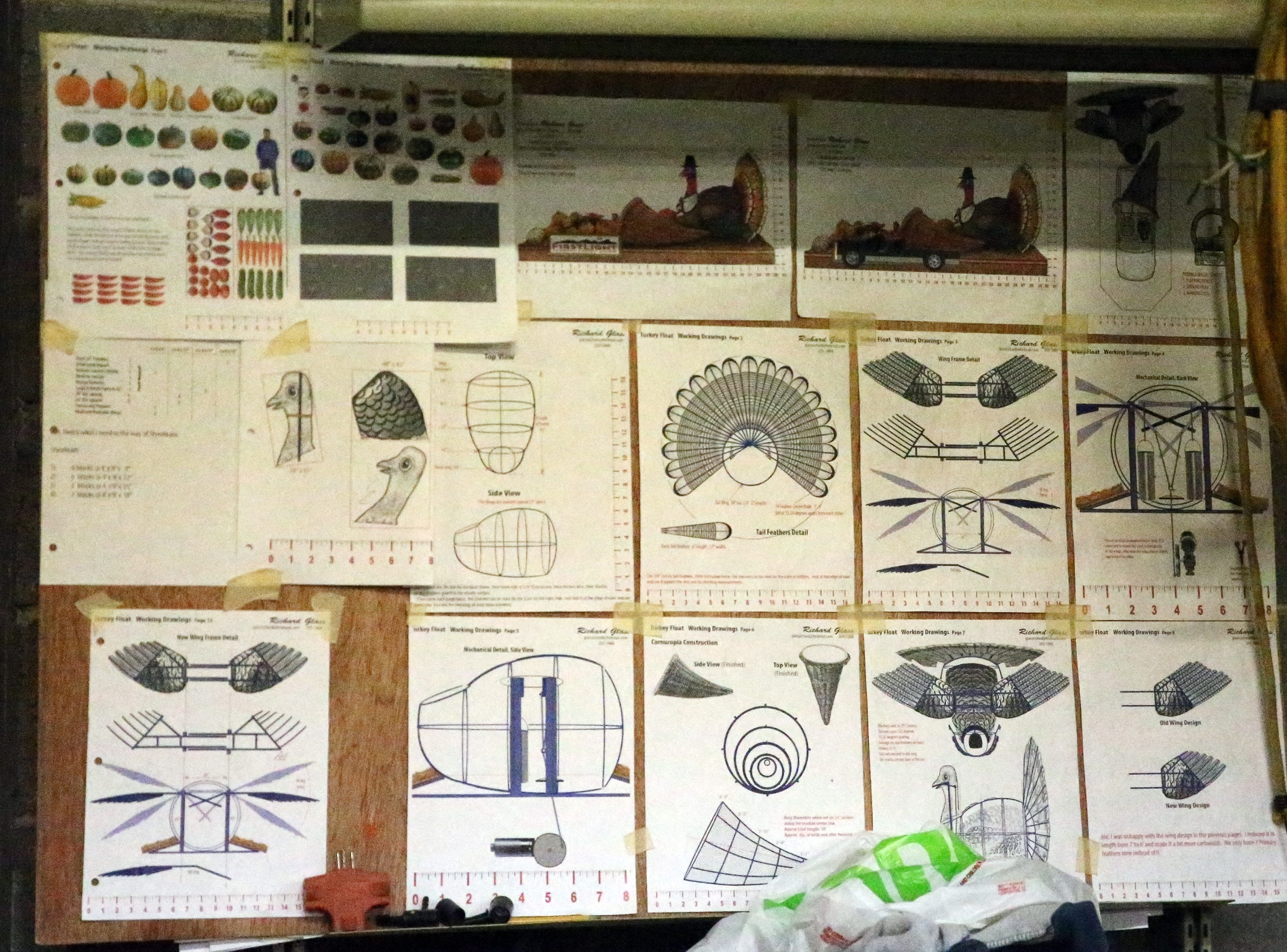 Design plans for the FirstLight Federal Credit Union turkey float.