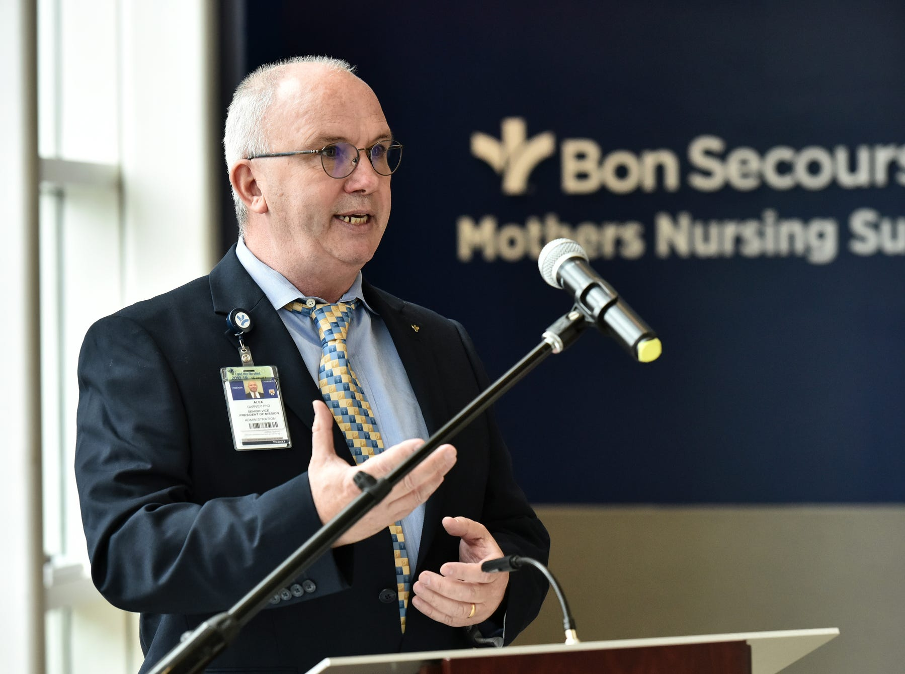 Alex Garvey, senior vice president of misson at Bon Secours, speaks during a blessing ceremony for the mothers nursing suite at the Bon Secours Wellness Arena on Tuesday morning, November 13, 2018.