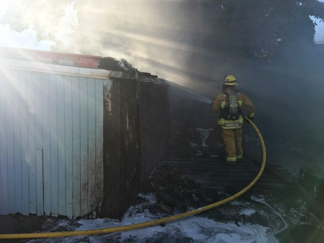 City of Ventura Fire Department crews tackled a structure fire Monday night on Harrison Avenue that put up smoke visible for blocks, officials said.
