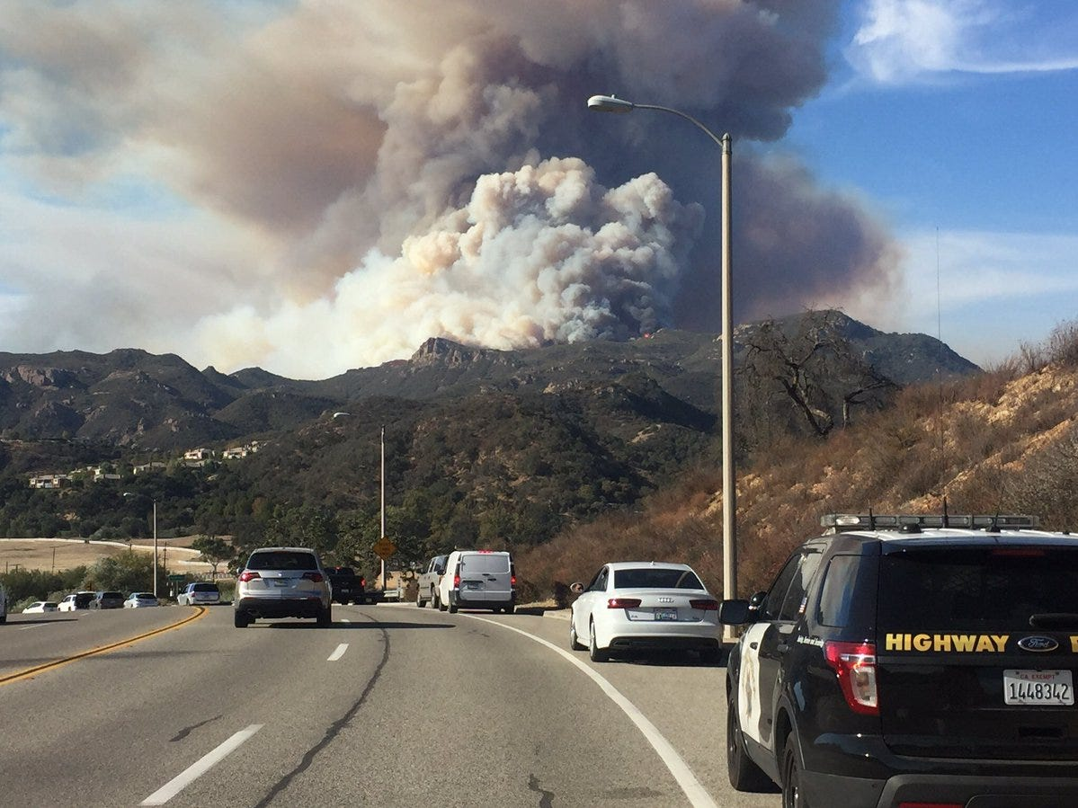 Increased Woolsey Fire activity was seen Tuesday near Lake Sherwood.