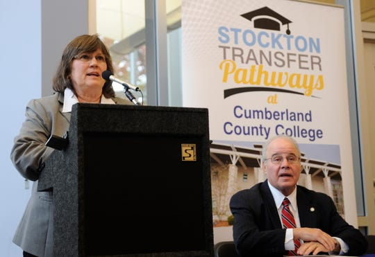 Shelly O. Schneider, Ed.D., Cumberland County College Interim President speaks to the crowd before signing a dual admission and transfer agreement with Harvey Kesselman, Ed.D., Stockton University President, on Tuesday, November 13, 2018.