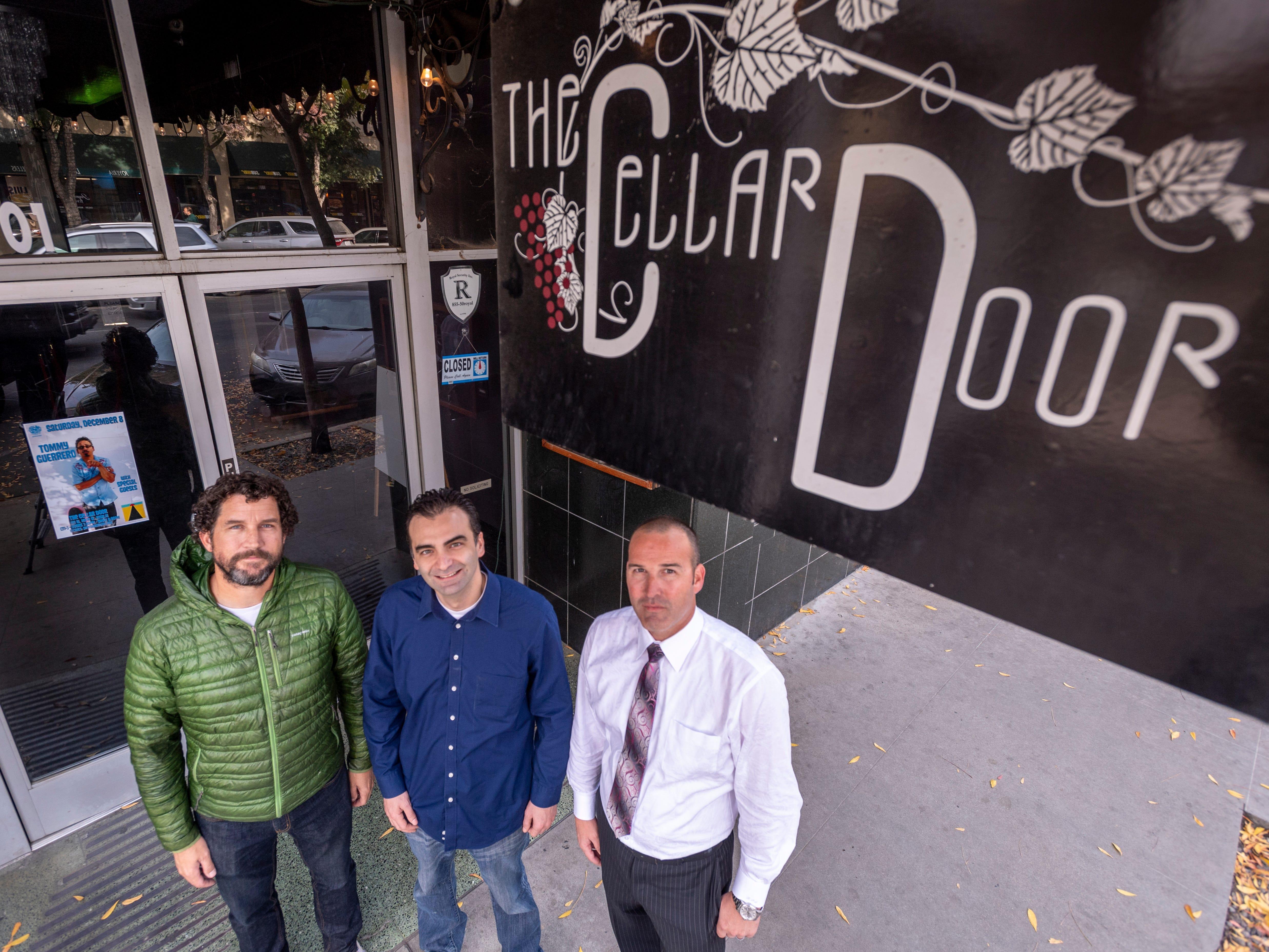 Marc Dwelle, left, Tate Darwin and Ryan Sullivan plan to reopen the Cellar Door in Downtown Visalia.